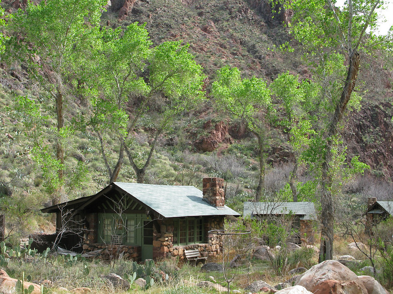 A permanent rigid structure constructed from stone and corrugated iron in a semi-arid location near to the Grand Canyon
