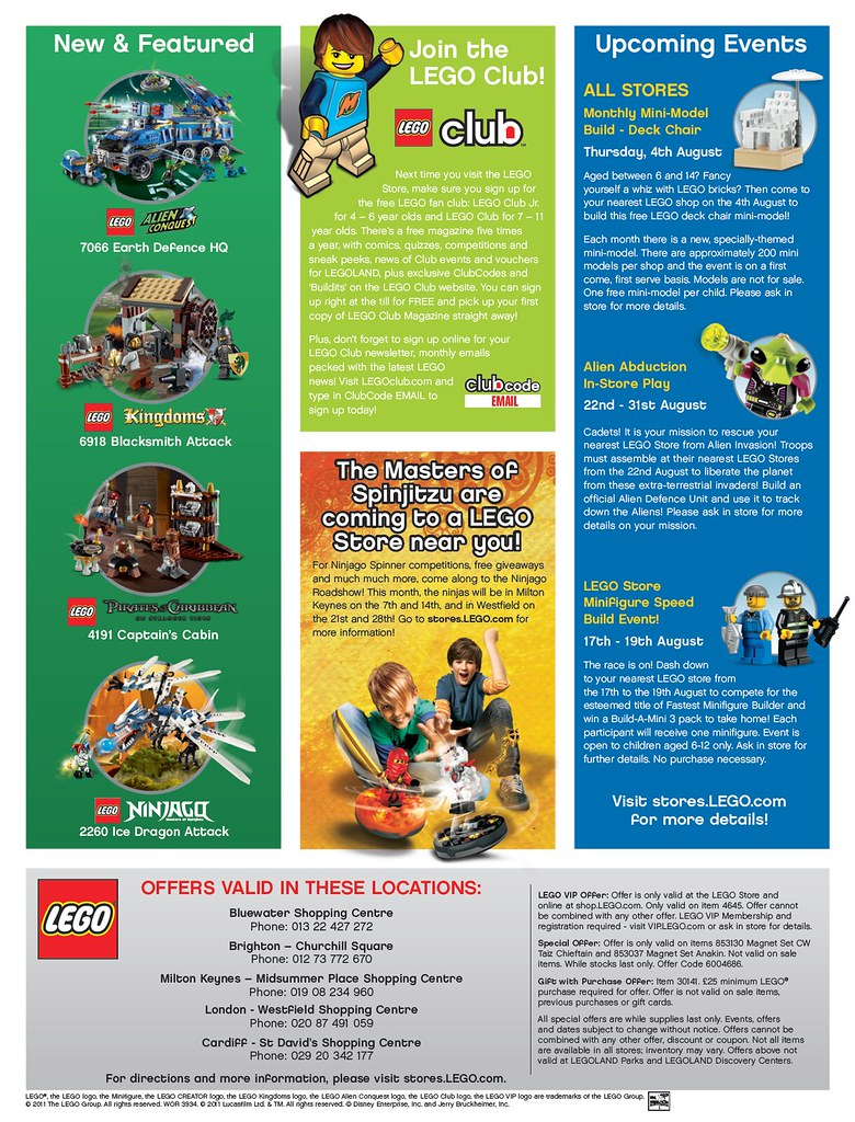 LEGO Store Calendar August 2011 - Back (UK) | LEGO Store Cal
