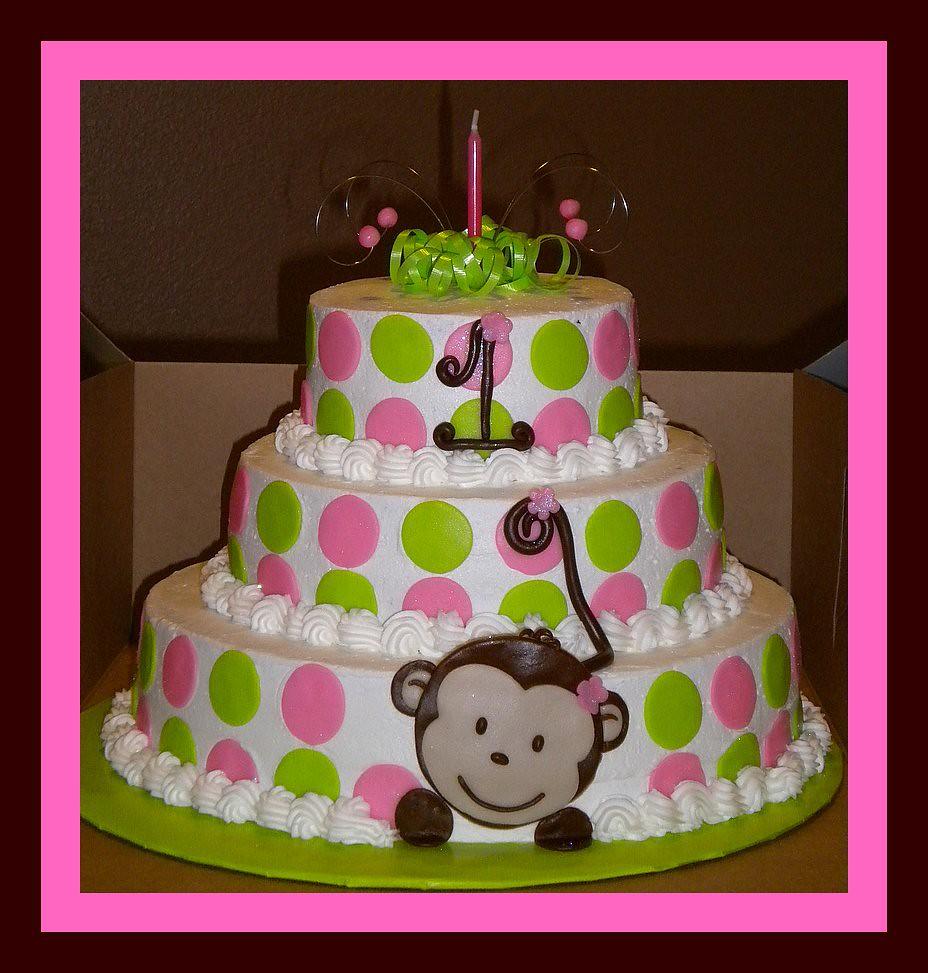 Incredible 1St Birthday Girly Monkey Cake Tinkabellz17 Flickr Funny Birthday Cards Online Kookostrdamsfinfo
