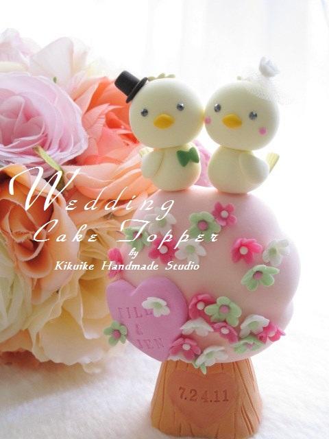 Wedding Cake Topper-love bird with flower tree