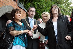 Belfast Lord Mayor shows solidarity with Belfasabuse survivors outside site of Nazareth House, Belfast