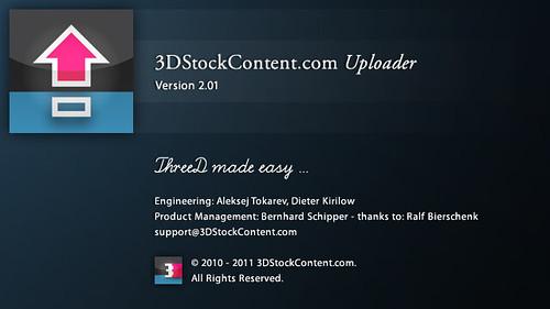 Splash screen: 3DStockContent Uploader