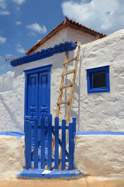 Blue door and fence