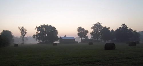 morning fog sunrise landscape day farm foggy july hay haybales afoggyday 365project 191365 justonerule 2011inphotos ayearjourney