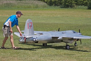 Paul LeTourneau taxis his B-26 at Warbirds Over Delaware 2011