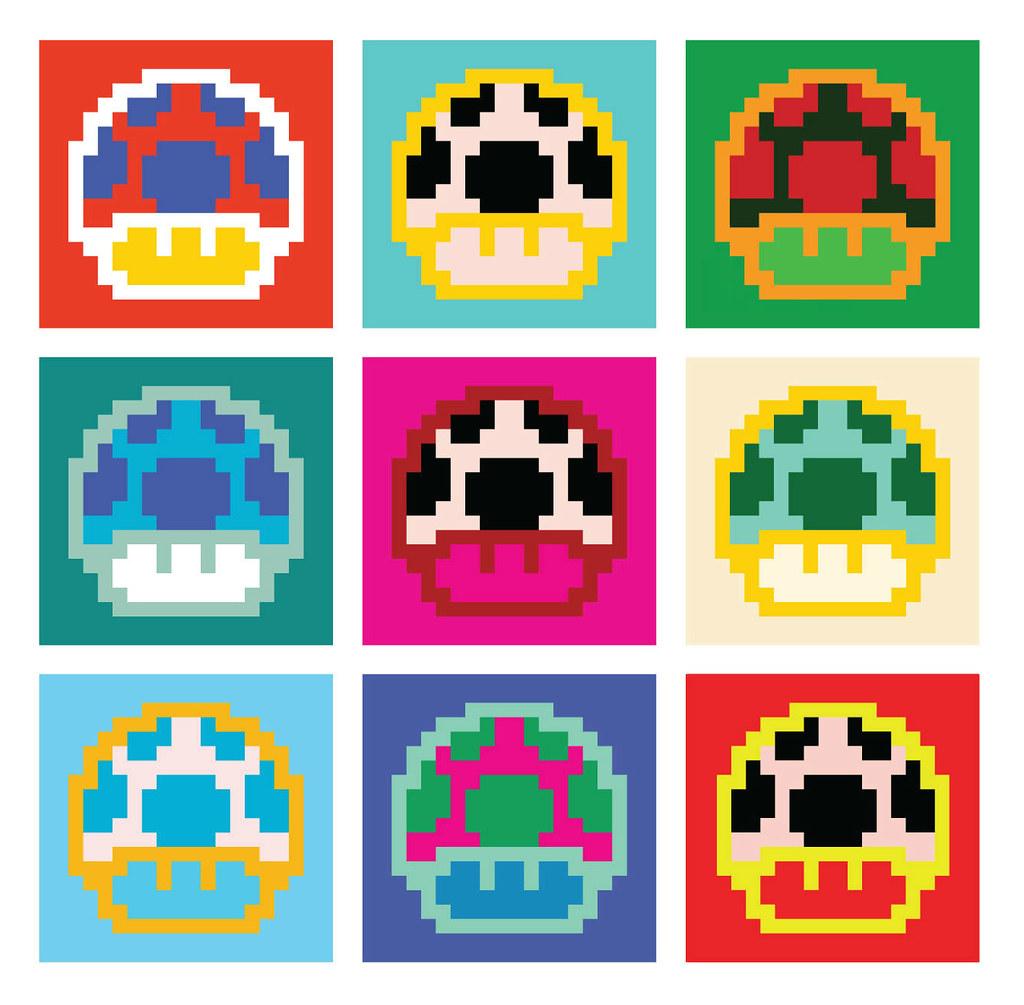 Mario Mushrooms Pixel Art Andy Warhol Pop Art Poster Inspi