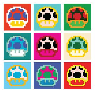 Mario Mushrooms Pixel Art Andy Warhol Pop Art Poster Inspi Flickr