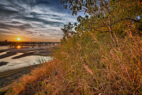 bridge sky water grass river tulsa hdr jenks susnet