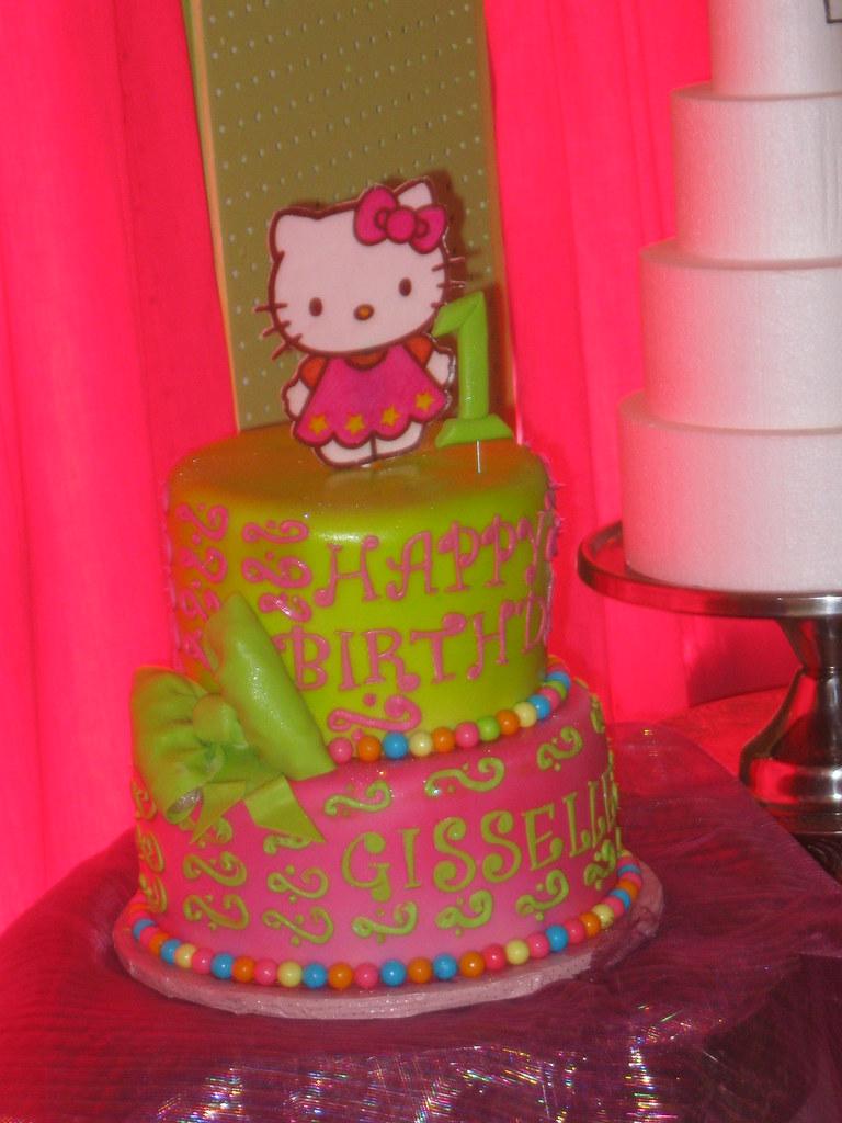 Prime Hello Kitty 1St Birthday Cake Hello Kitty Cake Made To Mat Flickr Personalised Birthday Cards Veneteletsinfo