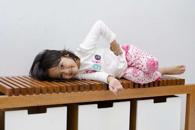Faizah and the cutterboard bench