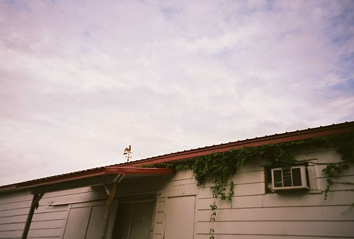 roof summer sky building film clouds analog 35mm july lomolca weathervane 2011 fujireala100 chippewafallswisconsin