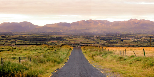 road shadow mountain field sunrise fence dawn early kerry killarney tralee castlemaine tar reek macgillicuddy