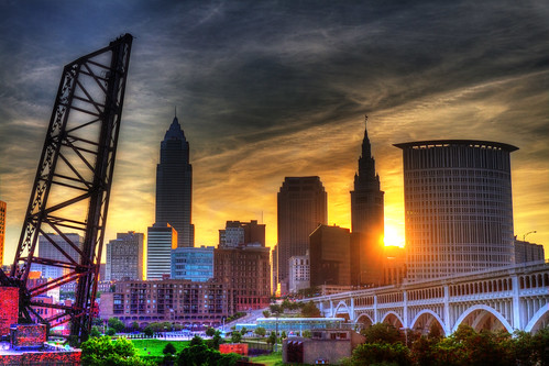 summer sunrise cleveland hdr