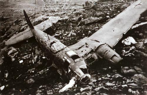 Ødelagt tysk bombefly - Heinekel HE 111