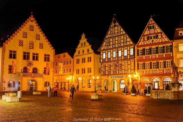 Bad Mergentheim, Markplatz bei Nacht