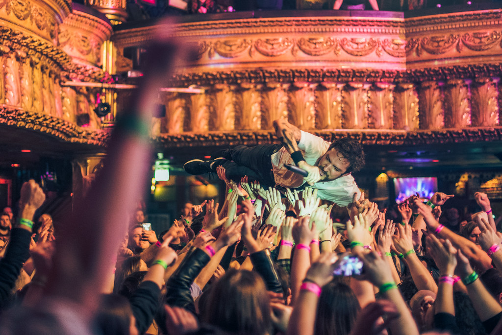 Frank Turner crowd surfing at the House of Blues