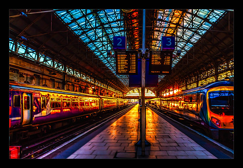 architecture canon1100d canon1855mm citycentre england hdr kevinwalker lancashire manchester northwest panorama panoramic photoborder piccadillystation railwaylines railwaystation sky skyline trains transport sunrise glow