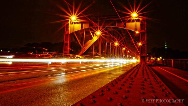 Lightstreams on Duisburg Ruhrort Karl-Lehr Bridge