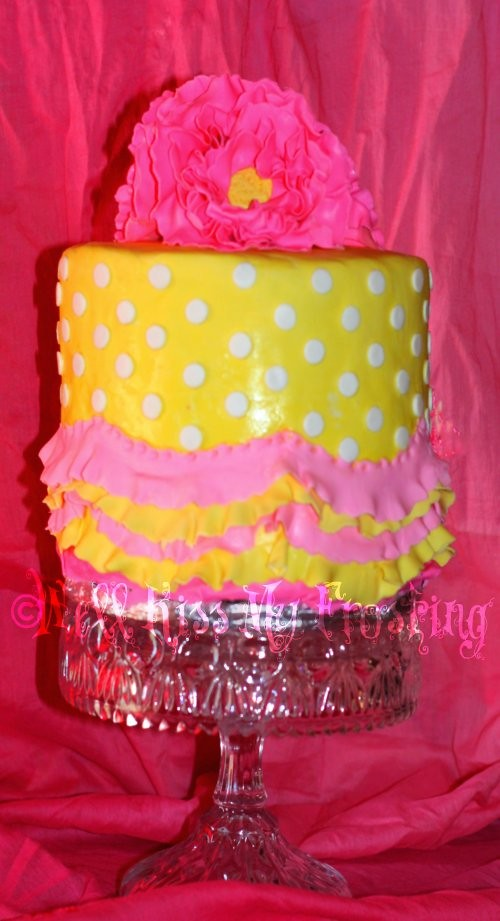 Phenomenal Pink And Yellow Birthday Cake Made For My Mommy N Laws 81 Flickr Funny Birthday Cards Online Ioscodamsfinfo