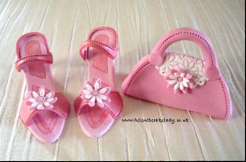 Pink shoes & handbag cake topper