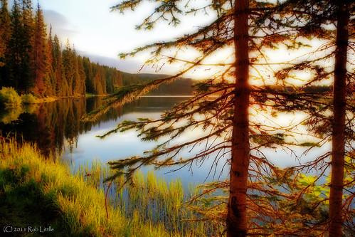 lake mountains sunrise landscape dawn colorado rocky grandmesa