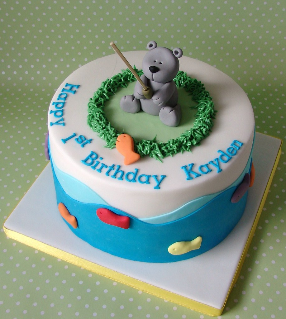 Outstanding Teddy Bear Fishing Themed Birthday Cake For Kayden A Photo On Funny Birthday Cards Online Eattedamsfinfo