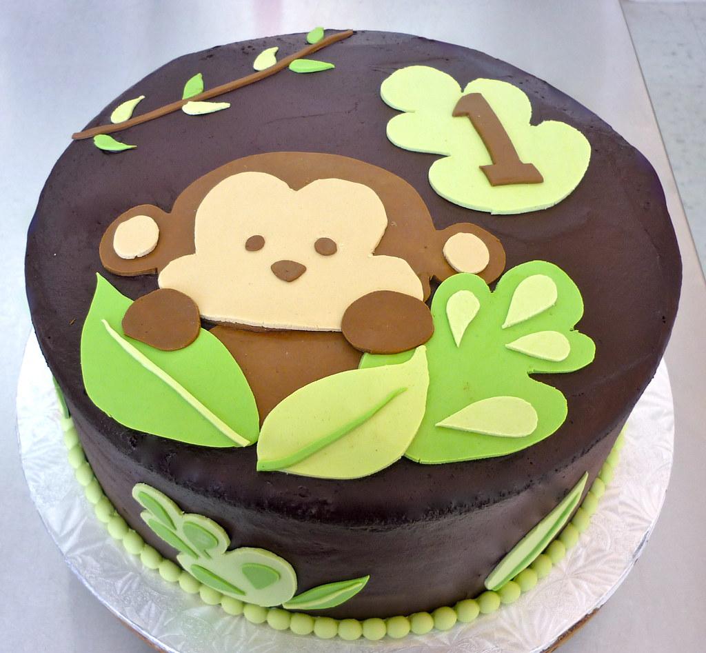 Terrific Monkey 1St Birthday Chocolate Cake With Chocolate Buttercr Personalised Birthday Cards Petedlily Jamesorg