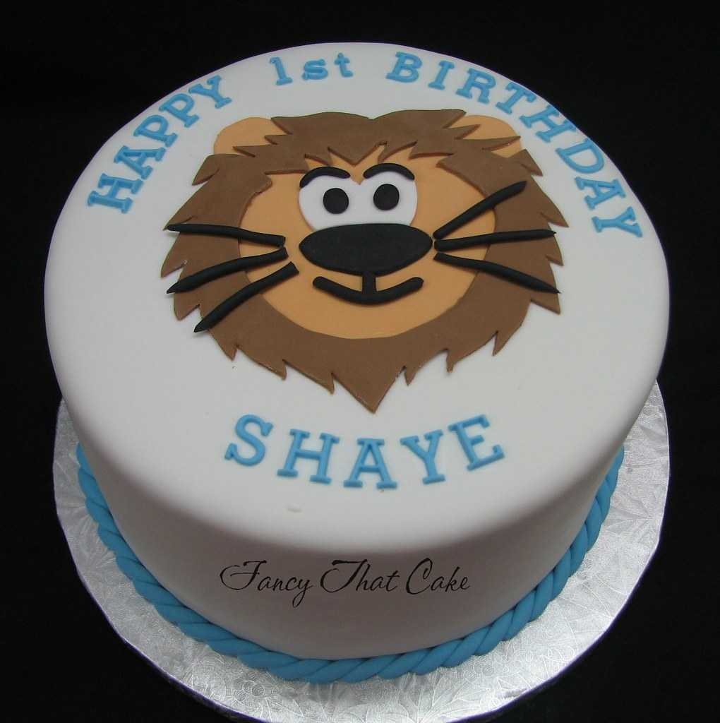Admirable Lion Birthday Cake 1St Birthday Cake For A Little Boy Who Flickr Funny Birthday Cards Online Overcheapnameinfo
