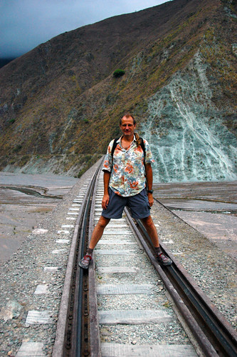standing on the tracks of train to the clouds