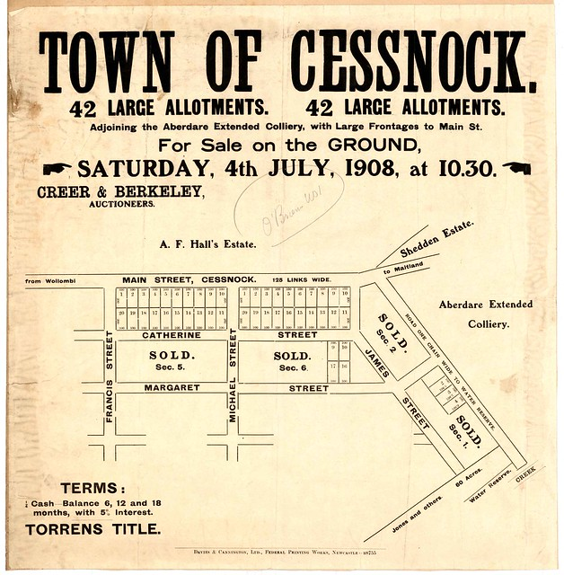 M2775 - Town of Cessnock adjoining the Aberdare Extended Colliery A.F. Hall's Estate. 1908.