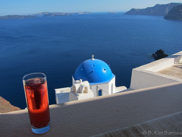 A glass of tea in Oia