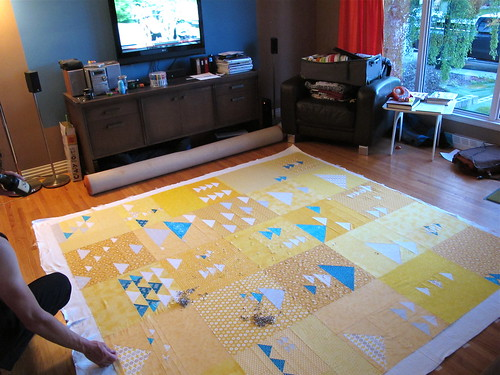 Basting the Triangle Quilt