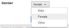 Gender Menu on Google+