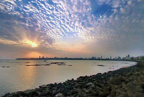 sunset skyline buildings drive necklace marine pentax queens bombay mumbai breakwater k20d