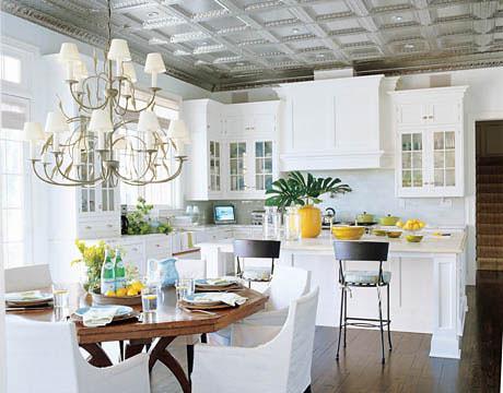 White kitchen cabinets + pale aqua walls: Benjamin Moore 'Italian Ice Green' + 'Ivory White'