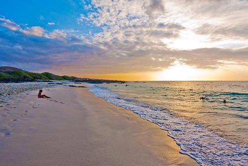 ocean sunset sky sun beach girl clouds hawaii bay sand calm shore foam bigisland kona kua wahine img1089