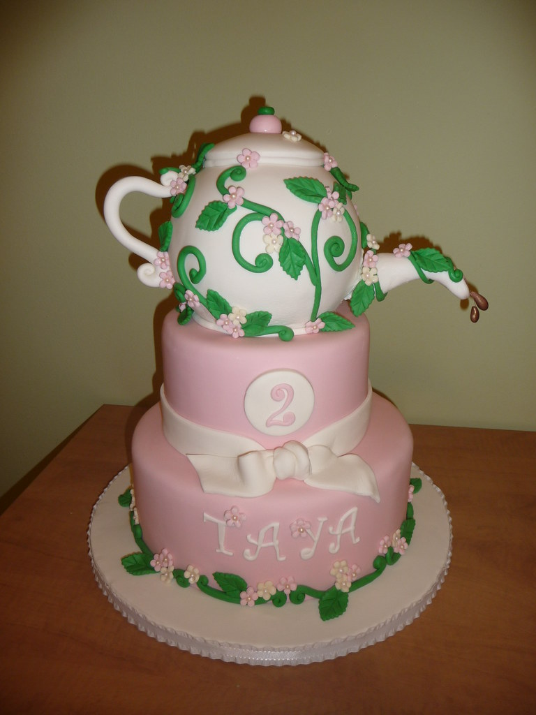 Wondrous Teapot Birthday Cake Made This For A Little Girls Birthda Flickr Personalised Birthday Cards Cominlily Jamesorg