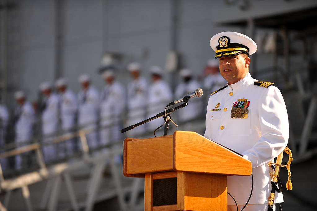 Ship captain delivers a speech during the USS Doyle's deco
