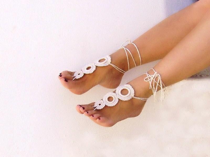 c7255dceb9d91 Crochet Camomile Light Beige Barefoot Sandals | www.etsy.com… | Flickr