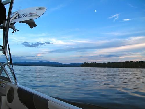 sunset lake dusk weekend wakesurfing lacbrome