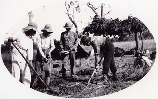 1921  Mixing concrete at the border camp. L to R  C.M. Hambidge, C. A,  Maddern,  M.P. Durack & H.B. Curlewis - KHS-2011-15-07-P2-D | by Kununurra Historical Society