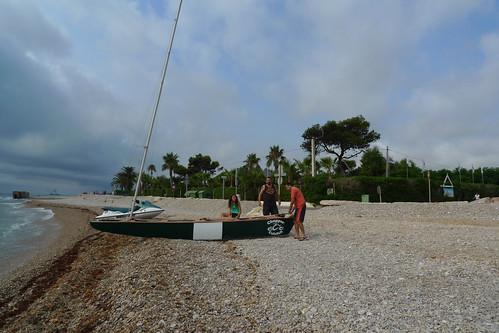 Travessa Alcanar-Calafell 2011. Preparant la sortida a les Casses d'Alcanar. 30 de juliol 2011.