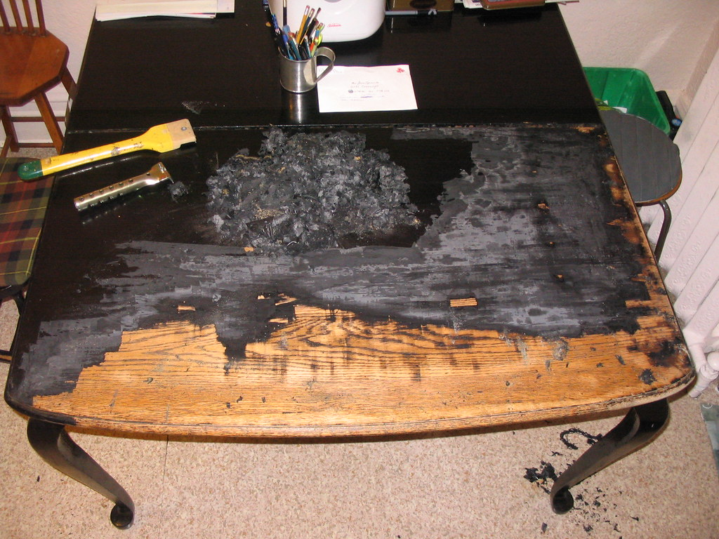 Refinishing the kitchen table   The hard way. For the second ...