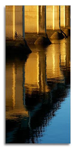 bridge sunset lake reflection water sunrise river concrete australia queensland goldenhour coomera pixelpix vertorama vertirama vertarama adpotd