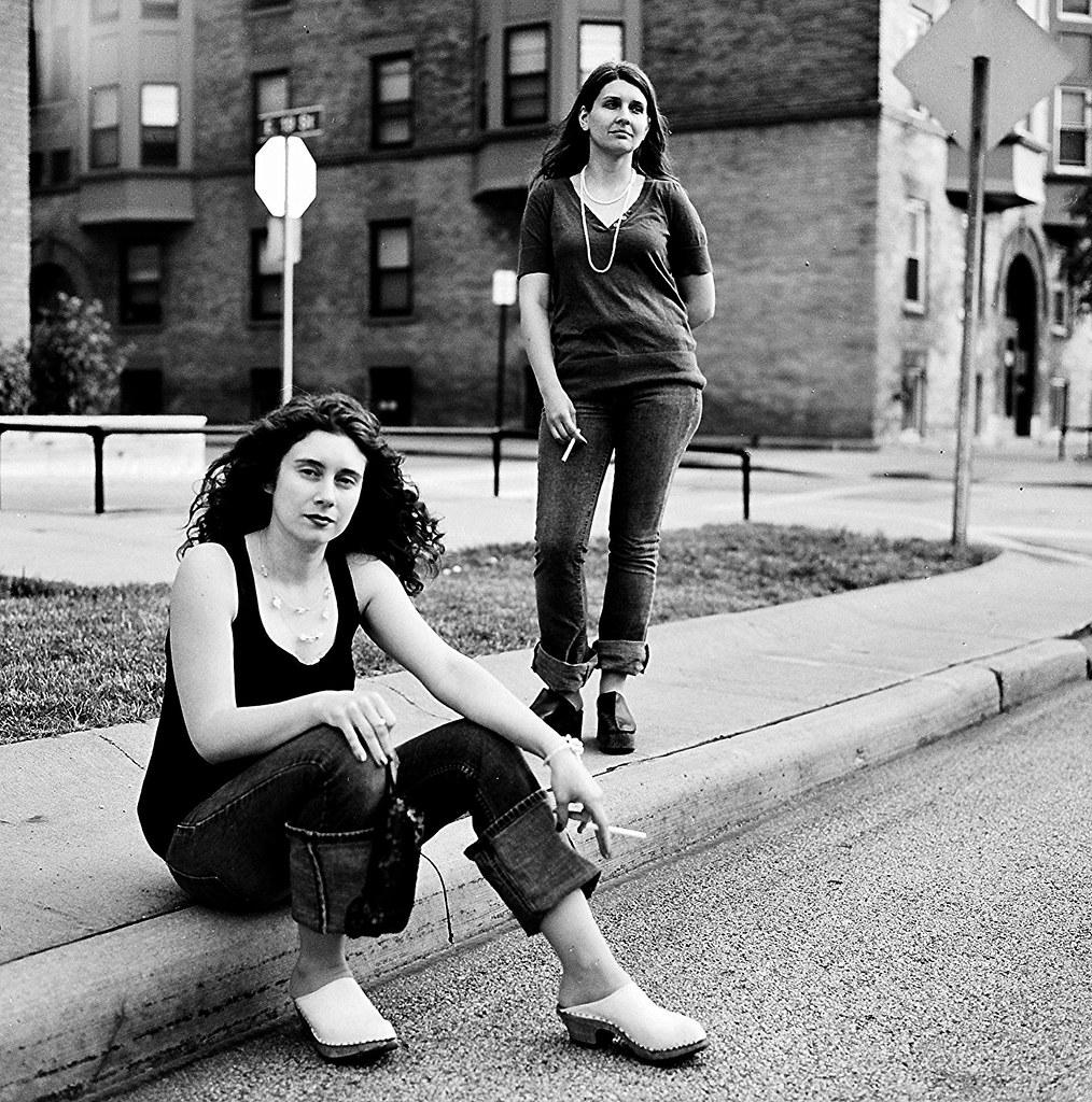 Osinsky Sisters Smoking On Curb 3