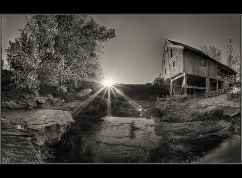 blackandwhite bw mill monochrome canon blackwhite nc northcarolina raleigh historic mills hdr spillway photomatix oldmills yatesmill 26xp hdraddicted paulmalcolm