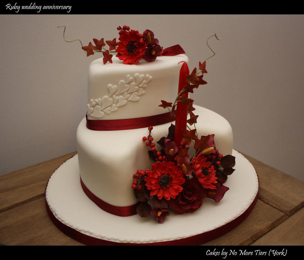 Ruby wedding anniversary cake - Autumnal