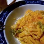 Seafood and spaghetti with tomato cream sauce / トマト・クリーム・ソースのパスタ (?)