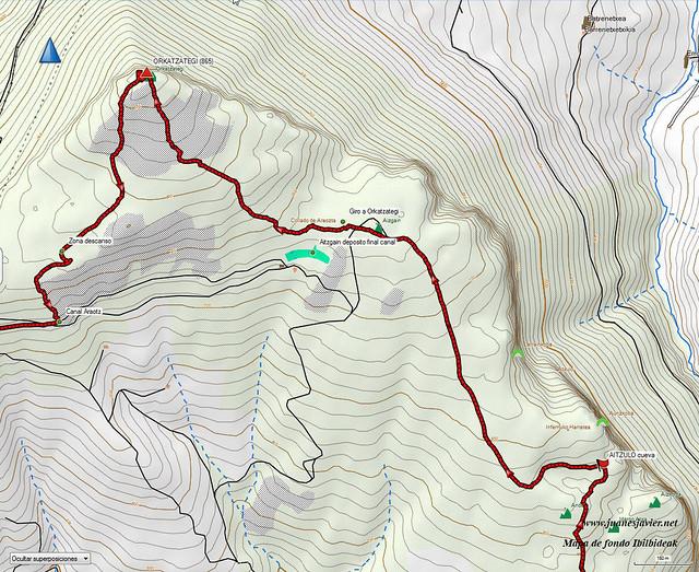 AIZKORRI raizk021 mapa22 detalle IBILBIDEAK Aranzadi valles Degurixa y Araotz
