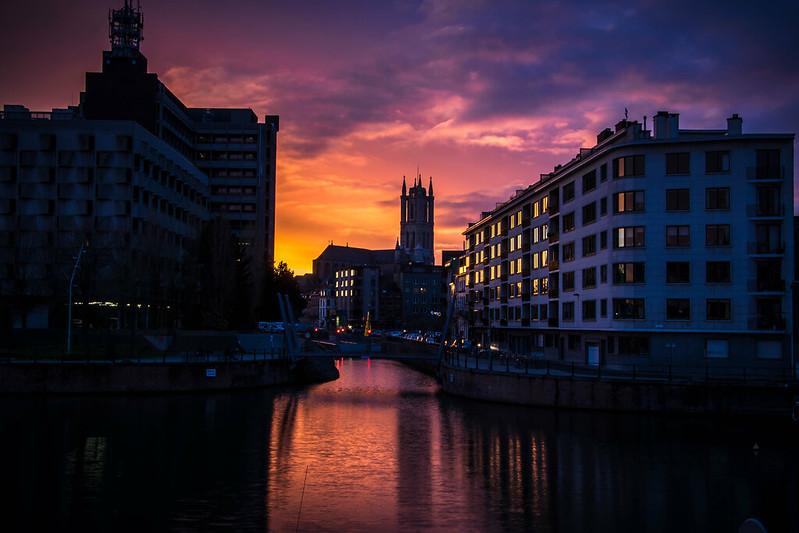 Sunset in Ghent, Belgium